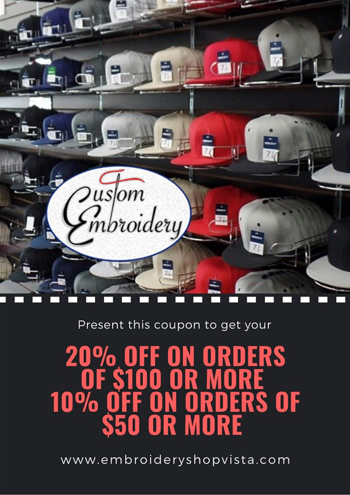 20% off on orders $100 or more. 10% off orders $50 or more.
